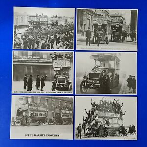 Set of 6 Vintage Reproduction London Buses Postcards, WW1 Troops, KGV