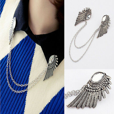 Charm Clip Angel Wings Crystal Rhinestone Collar Necklace Chain Brooch Pin Gift