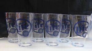 NOS-Heavy-Duty-Set-of-6-Miller-Lite-Pint-Beer-Glasses-Plastic-Cups-Man-Cave