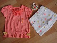 Girls Gymboree 2t, 4, 5 Shirt, Skirt , Hair Clips Sunny Citrus