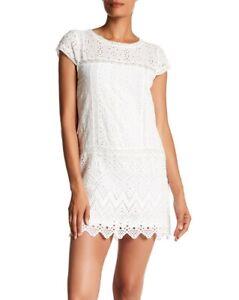 Joie 154480 Women's Cap Sleeve Eyelet Dress Short Sleeve Porcelain Sz. XS
