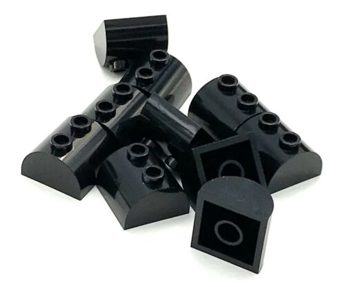 Lego 10 New Black Bricks Modified 2 x 2 Curved Top 2 Top Studs Pieces