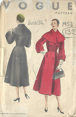 1953 Vintage VOGUE Sewing Pattern B34 COAT (1353)
