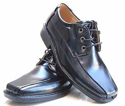 Nuevos Chicos Niños Negro Cuero Forrados Comunion Boda Fiesta Formal Cordones Zapatos UK