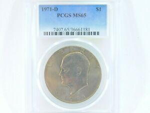 1971-D-PCGS-MS65-Eisenhower-1-IKE-One-Dollar-Uncirculated-Certified-Coin-BJ0033