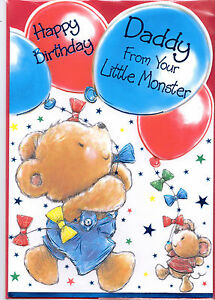 daddy birthday card. happy birthday daddy from your little monster, Birthday card