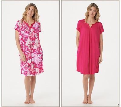 Carole Hochman Wood Block Rayon Spandex Sleepshirt Set Coral L NEW A302156