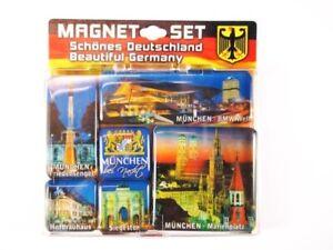 Muenchen-Marienplatz-Siegestor-Germany-Magnet-Set-Souvenir-6-tlg-Neu