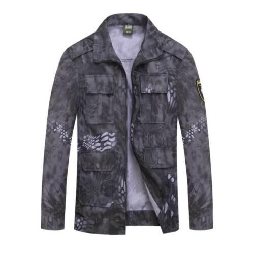 Unisex Camouflage Uniform Python Pattern Tactical Suits Jacket Pants Men Sets