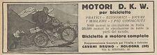 Y7903 Biciclette a motore D.K.W. - Pubblicità d'epoca - 1925 Old advertising