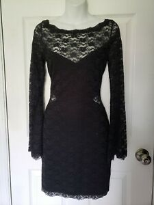Free People Dress Womens Lovely in Lace Bodycon bell sheer sleeves Size M