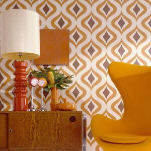 Superfresco-Easy-Paste-the-wall-Trippy-Retro-Vintage-60-039-S-Orange-Wallpaper