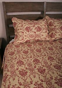 Queen Quilt Set Red Ecru Floral Urn Toile French Country Cotton Bedding