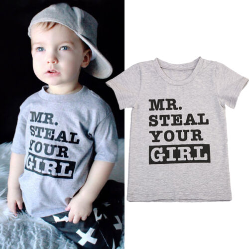 Boys Kids Mr Steal Your Girl T Shirts Summer Short Sleeve Clothes Children Tops