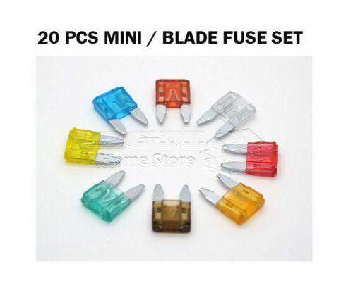 20 PCS MINI CAR BIKE VAN FUSE SET BLADE FUSES AMP 4A 5A 7.5A 10A 15A 20A 25A 30A