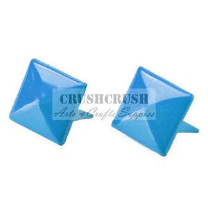 50pcs-8mm-Blue-Sky-Color-PYRAMID-Stud-Punk-Rock-Biker-Spikes-spot-Shoes-S1508