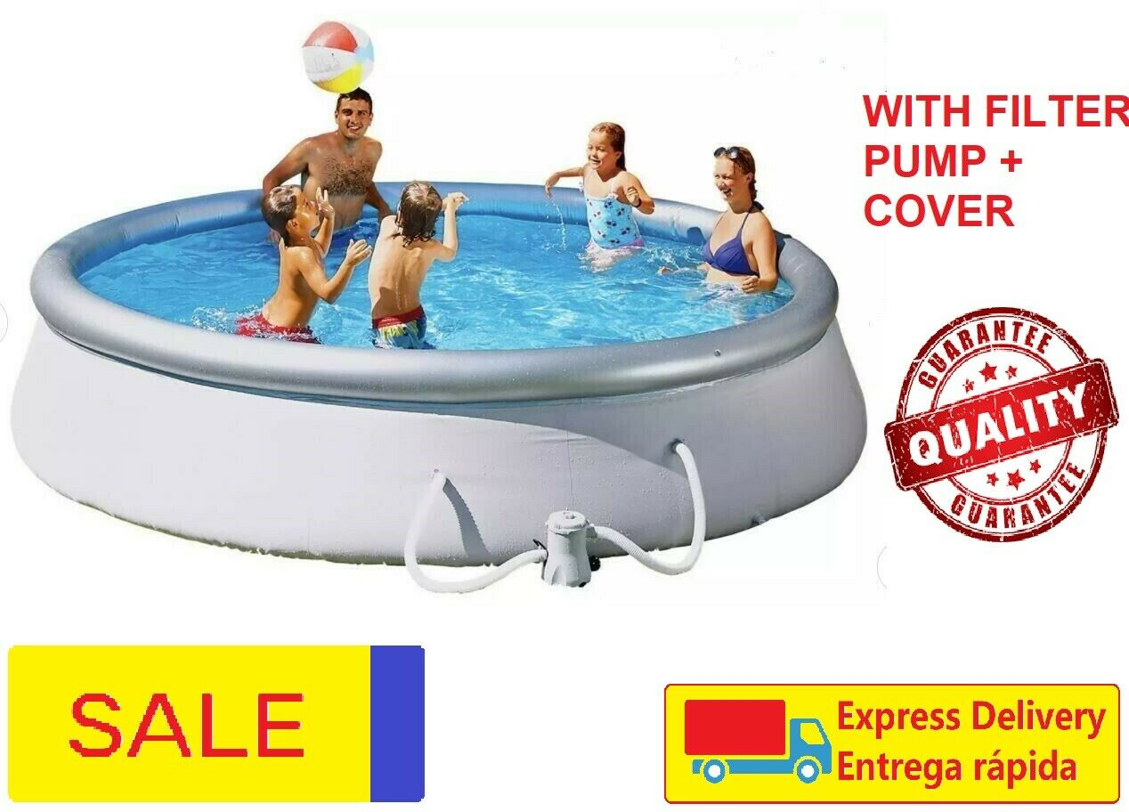 Bestway 12ft Quick Up Round Family Swimming Paddling Pool Filter Pump - 5377L