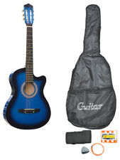 Acoustic Electric Guitar Cutaway Design w/ Guitar Case, Straps, Tuner Blue New