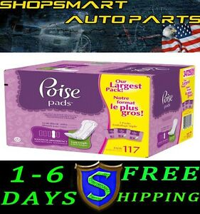 FREE-SHIPPING-117-PACK-POISE-MAXIMUM-ABSORBENCY-PADS-LONG-MAXIMUM-ABSORBENCY