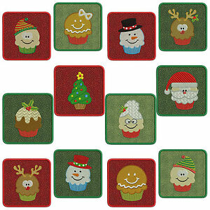 In-The-Hoop COASTERS * CHRISTMAS 1 * Machine Embroidery Patterns * 12x2 sizes