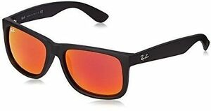 e5a7833965 Ray-Ban Rb4165 622 6q Black Rubber Frame Brown Orange Mirror Lens  Sunglasses 54