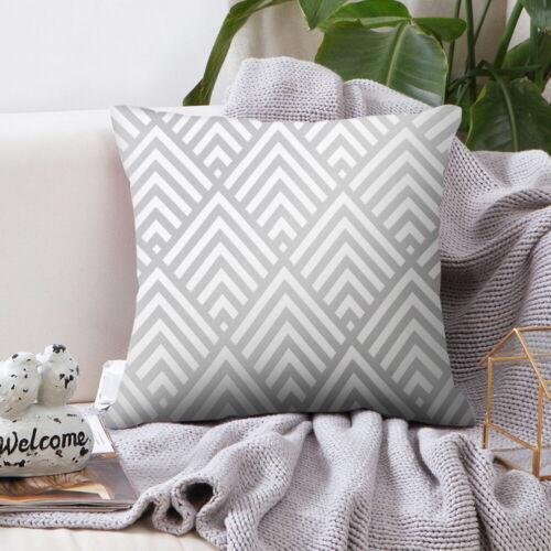 Silver Grey Geometric Cushion Cover Pillowcase Home Sofa Decor 45*45CM `