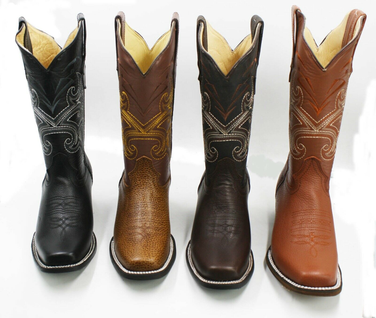 Ladies Genuine Cowhide soft Leather Cowgirl Western Square toe Boots