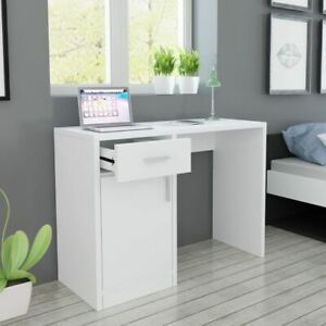 vidaXL-Desk-with-Drawer-and-Cabinet-White-100x40x73cm-Computer-Writing-Table