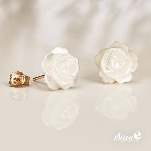 Ohrstecker Rose Perlmutt Blume 8 mm ygf 14k Gold 585 Ohrringe