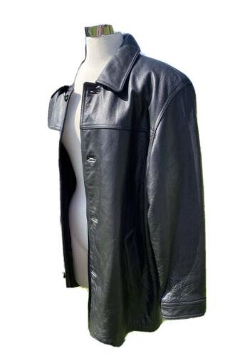 Mens J Ferrar Black Leather Blazer Lined Jacket Wi