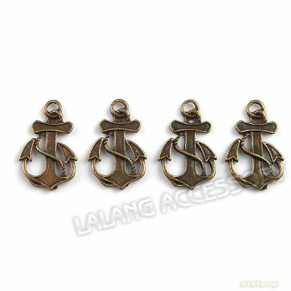 80pcs 140753 New Jewelry Findings Anchor Dangle Pendants Bronze Charms 20x12mm