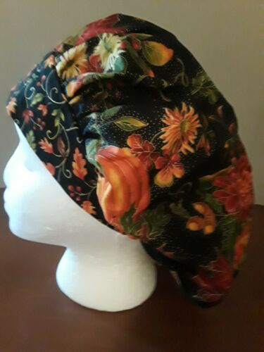Pumkins and Mums Fall Women/'s Bouffant Surgical Scrub Hat//Cap Handmade