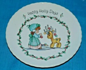 Precious-Moments-1994-Happy-Holly-Days-Plate-Christmas-Holiday-Enesco-Reindeer