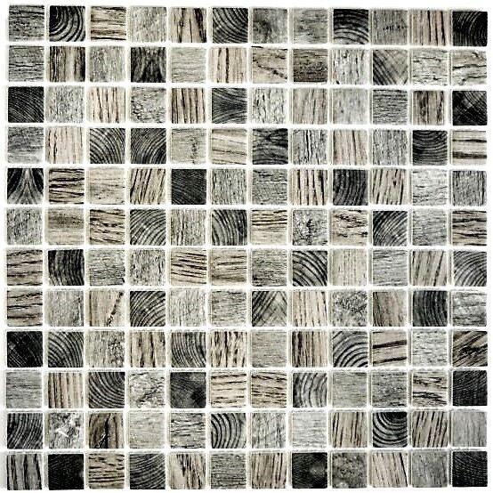Mosaik Glas Holzstruktur hellgrau Fliesenspiegel Küche Art: 63-312 | 10 Matten