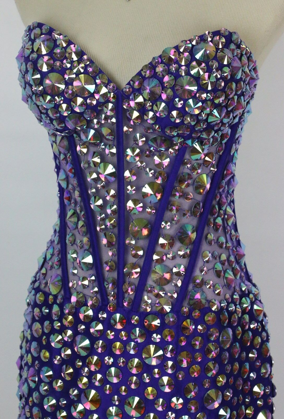 Jovani Size Size Size 2 Purple Crystal Beads Cruise Short Strapless Prom Formal  570 Knee e44491