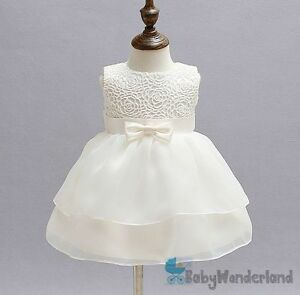 Baby Girls Ivory Christening Gown Baptism Gown Birthday Lace Dress