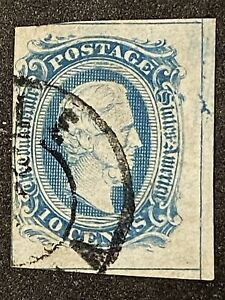Confederate States Scott 10a Used 2 FRAME LINE Stamp. Lines Show 4 Sides
