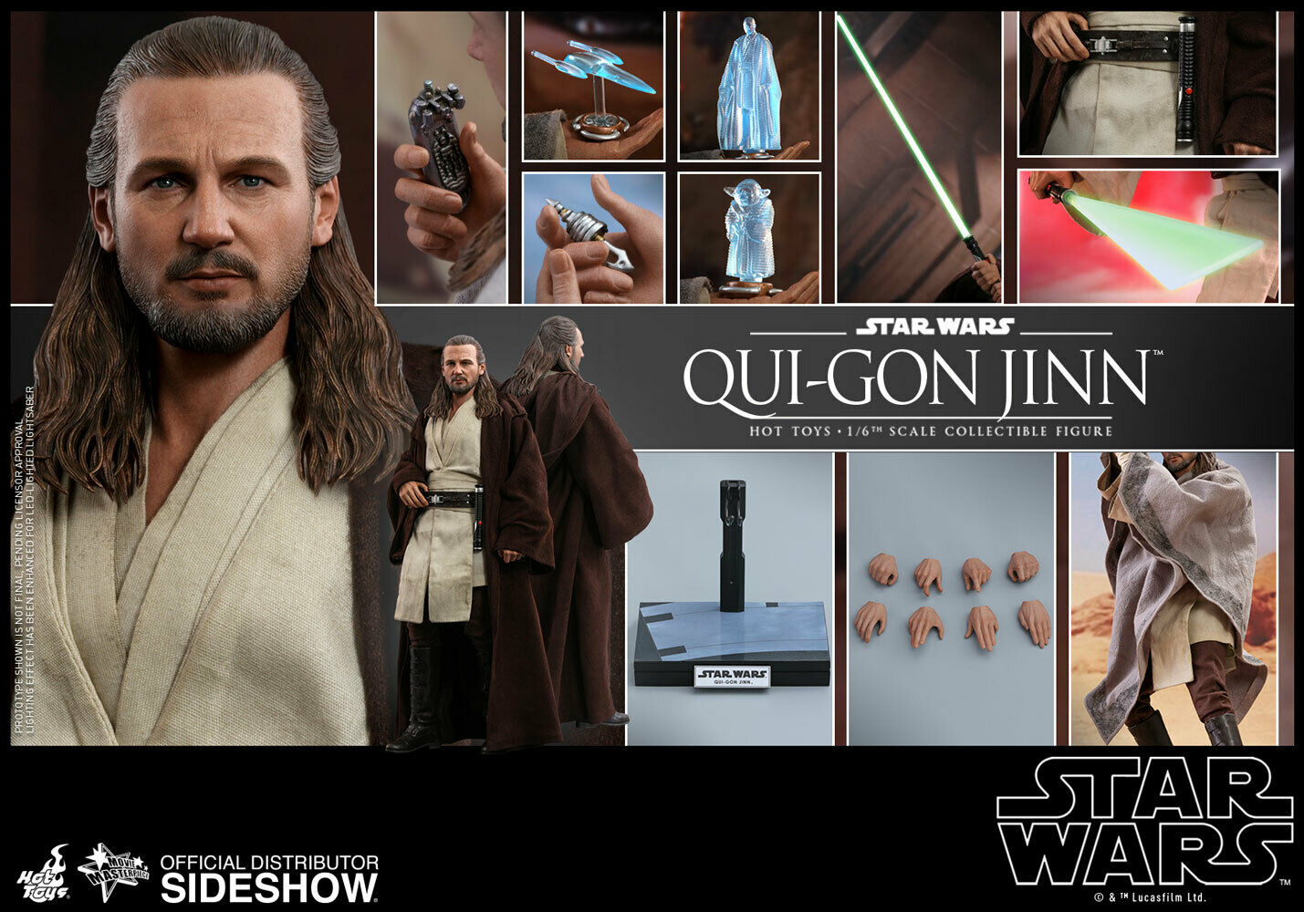 Hot Toys Star Wars Qui-Gon Jinn 1:6 Scale Figure Jedi Master Liam Neeson MMS525 on eBay thumbnail