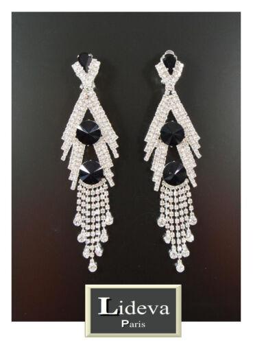 Lujo XXL orejas clips aretes parís pendiente cristal Chandelier 12 cm