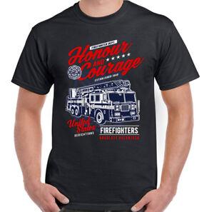 Honour-amp-Courage-Firefighter-Mens-Fireman-039-s-T-Shirt-Fire-Brigade-Service-Engine