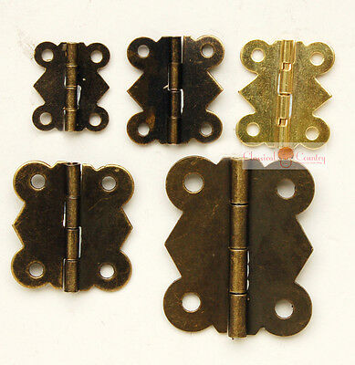 """4pcs Hinges Furniture Iron Alloy Hardware For Jewelry Box Trunk Antique 3.18/"""""""