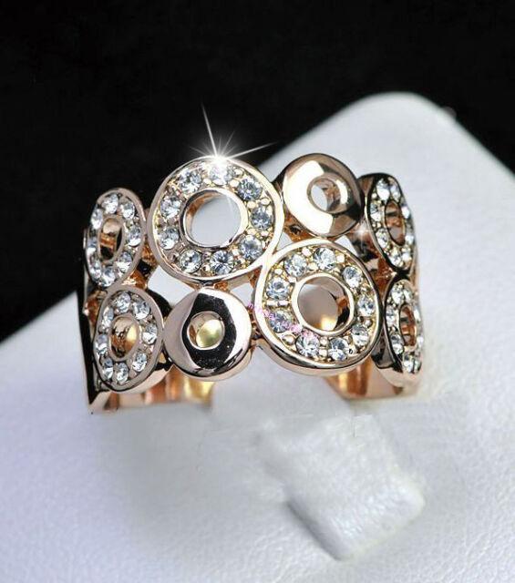Fashion 18K Rose Gold Plated GP Crystal Multi-Circle Ring Size 6,7,8,9