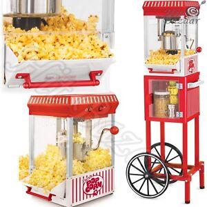 POPCORN-CART-MACHINE-Popper-Maker-Vintage-Popper-Red-Stand-Movie-Room-48-034-Tall