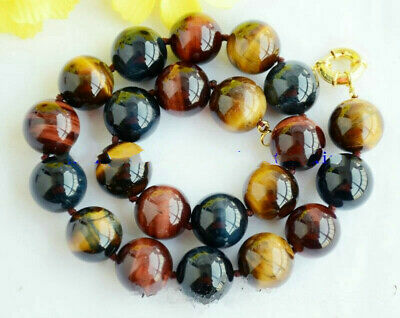 """+ Natural énorme 14 mm Yellow tiger/'s Eye Gemstone Round Beads Necklace 20/"""" AAA"""