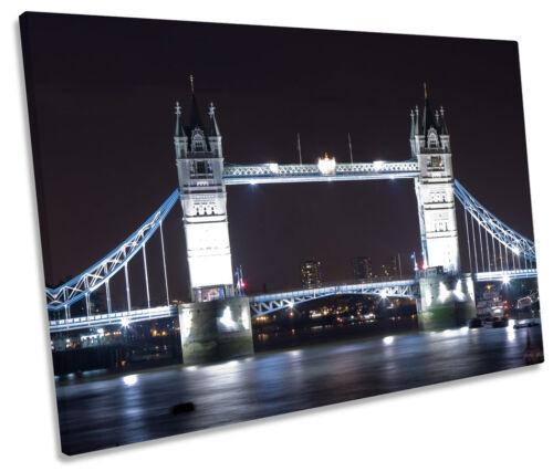 Tower Bridge London City Night SINGLE CANVAS WALL ART Framed Print