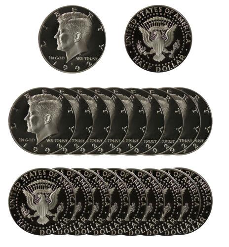S Kennedy Half Dollar CN-Clad 50c Gem Proof Roll 20 US coins 1992