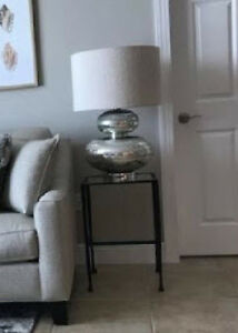 Pottery Barn Gia Table Lamp Base Antique Silver Grand Etched Double