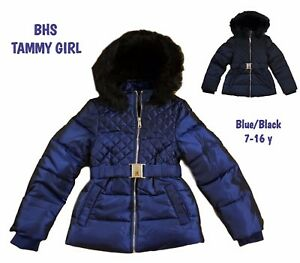 a078eac8b BHS Girls Coat Jacket Winter Quilted Hooded Rain Warm School Fleece ...