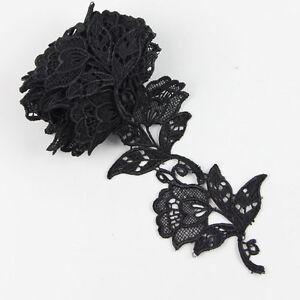 2-ya-schwarz-Applikation-Gewebenwerk-Blumen-Borte-Handarbeit-DIY-Hausdeco-Spitze
