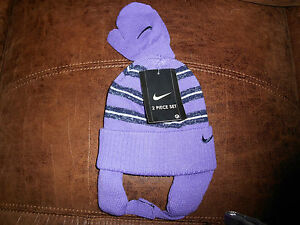 Girls Toddler Nike Vintage Striped Hat & Mittens Set 2T-4T NWT